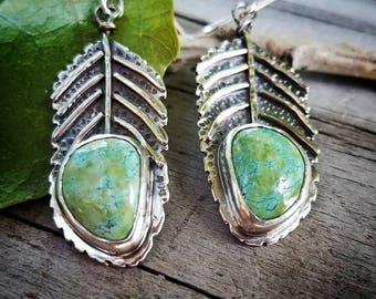 Turquoise Dangle Fern Leaf Earrings, Artisan One of a Kind Art Jewelry Earrings