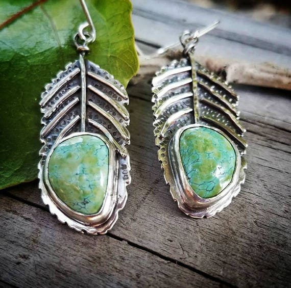 Turquoise Dangle Fern Leaf Earrings, Artisan One of a Kind Art Jewelry Earrings