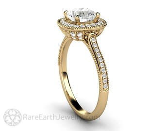 Vintage Halo Moissanite Engagement Ring Cushion Cut Forever One
