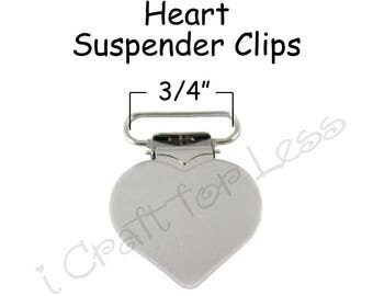 "25 Heart Shaped Suspender Clips - 3/4"" w/ Rectangle Inserts - for Paci Pacifier Holder plus Instructions - SEE COUPON"