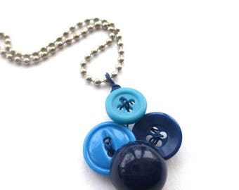 BUTTON JEWELRY SALE Small Pendant Necklace with Blue Buttons