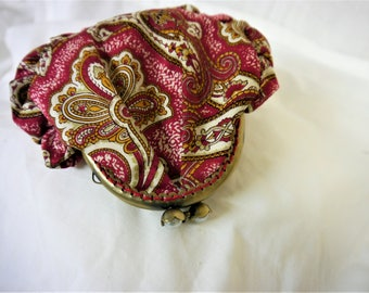 Purse-  Red and Cream Paisley print - Handmade in France