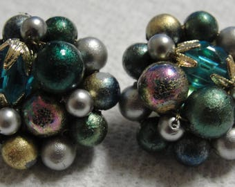 Teal Beaded Clip Earrings