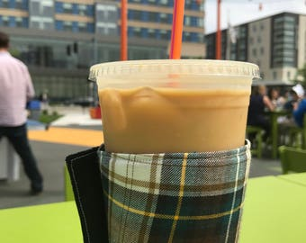 Whats Up Your Sleeve Fabric Reusable Ice Coffee Sleeve Plaid