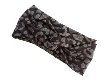 READY TO SHIP Turban Headband // Turband // Hair Wrap // Twist Headband // Fabric Hairband // Black with Silver Sparkle Leopard Print