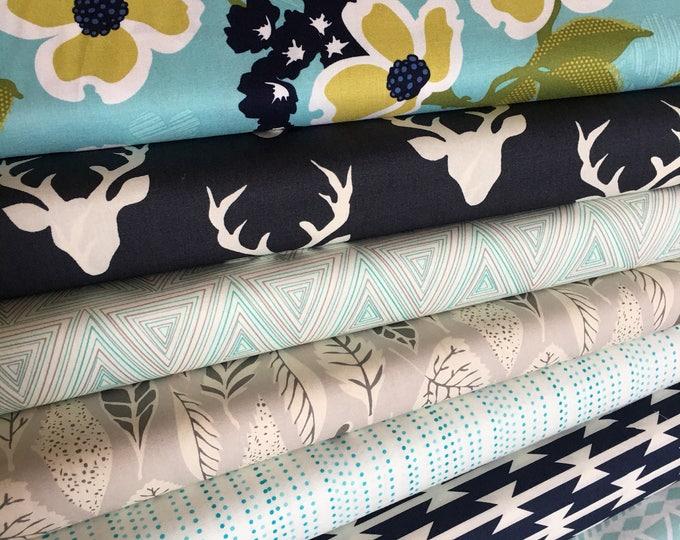 Quilting fabric, Floral Fabric, Adventure fabric, Hello Bear fabric, Deer fabric, Art Gallery Fabric- Fabric Bundle of 7