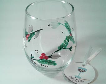 Hand Painted Stemless Wine Glass With White Blooms and Berries