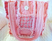 Pink Homespun Rag Tote - Rag Quilt Tote - Mother's Day Gift - Gift for Her - Homespun Tote - Pink Plaid Tote