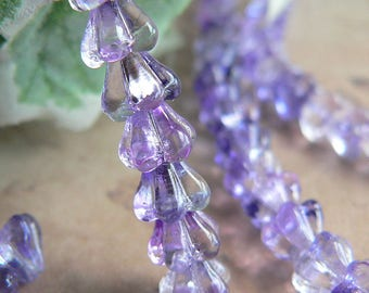 Purple Pink Czech Glass Baby Bell Flower Beads Ultraviolet 4x6mm (25)