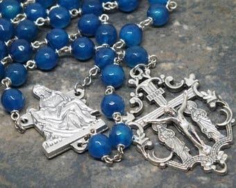 Gemstone Rosary of Royal Blue Agate; Pieta Rosary; 5 Decade Rosary; Ornate Rosary; Large Size Rosary; Catholic Rosary; Blue Rosary