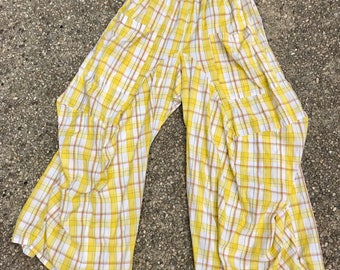 Yellow plaid one size cotton lagenlook pant