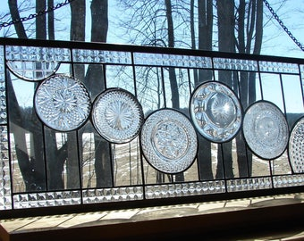 stained glass panel Clear Cascade Transom window custom available