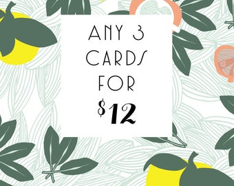 3 Letterpress Cards, choose any