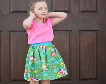 SALE Simple Skirt Pattern Whimsy Couture Sewing Pattern Tutorial -- Elastic Banded Skirt -- sizes 0m through 14 girls PDF Instant