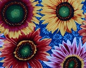 Snow Leopard Designs Fabric, Sunflowers, PWSL004 Blue, Free Spirit, 100% Cotton, #172