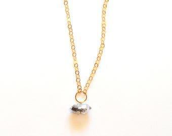 Gold Chain Herkimer Diamond Necklace / Simple Modern Geometric Minimalist Herkimer Diamond Gemstone Pendant Necklace with 14k Gold Chain