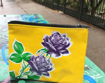 "Yellow and Purple Rose Oil Cloth Cosmetic Pouch, 7"" Oil Cloth Case, Mexican floral Oil Cloth wallet"