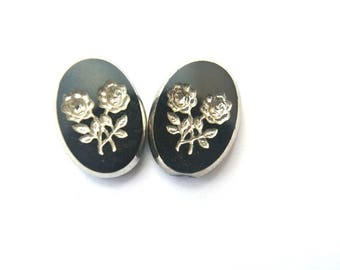 6 Vintage glass cabochon 18mmx13mm high quality, silver color rose flower on black