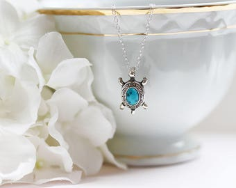 Turtle Necklace Sterling Turquoise Turtle Necklace