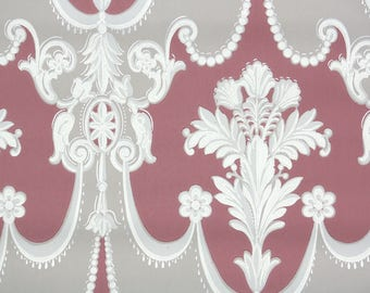 1940s Vintage Wallpaper by the Yard - Floral Damask Wallpaper Gray and Burgundy
