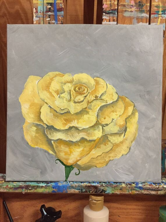 A Single Yellow Rose Original Painting
