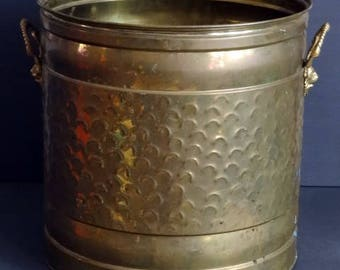Large Brass Planter Floor Planter Hammered Brass Style with Lion Head Handles
