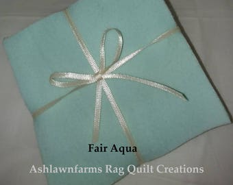 Solid FAIR AQUA green, FLANNEL Fabric Squares,  Rag Quilt, Traditional Quilting, pick size & quantity, We Cut You Sew