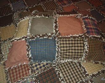 Homespun Pillow Sham, 1 Standard Size Pillow Sham, Rag Quilt Pillow Sham, Farmhouse Pillow Sham
