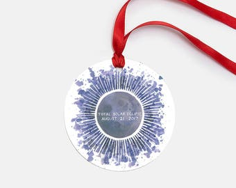 Total Solar Eclipse Ornament / Watercolor / Solar Eclipse 2017 / Solar Eclipse Gifts / Total Eclipse Gifts / Solar Eclipse Ornament / Moon