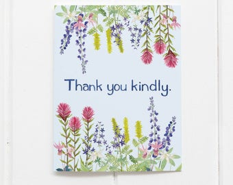 Thank You Card / Northwest Thank You / Watercolor Card / Greeting Card / Pacific Northwest Card / Wildflowers Card / Wildflowers / Seattle