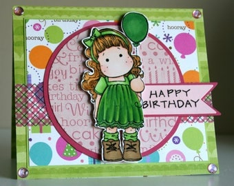 Beautiful handmade Happy Birthday card featuring Tilda with Balloon
