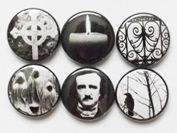 Goth Spooky Halloween PINS and Buttons Pinback Badges Poe macabre party favor stocking stuffer trick treat magnets raven crow cemetery gift