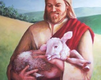 Limited Edition Print  - Jesus with Lamb - Painting of Jesus - Religious Art - Wall Art - Home Decor - Nursery Decor - Sheep