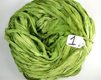 Sari silk Ribbon, Recycled Silk Chiffon Sari Ribbon, green chiffon ribbon, tassel supply, Apple green ribbon, weaving supply, green chiffon