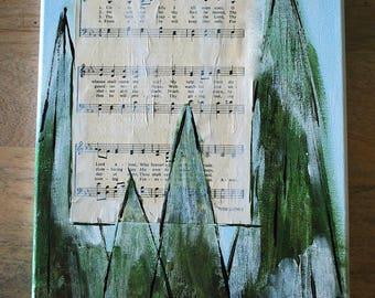 Unto The Hills I lift Mine Eyes- Rustic Hymnal Church Painting  - 12 x 12