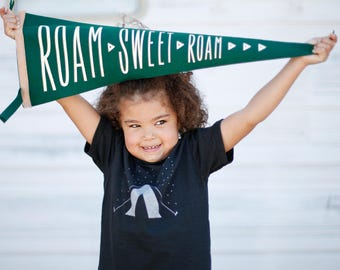 Roam Sweet Roam pennant - kids room decor - camping and hiking - wanderlust pennant - wall decor - kids room art - unisex childrens wall art