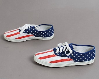 size 7 KEDS style canvas 80s 90s AMERICAN FLAG slip on elastic flats