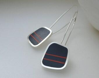 Inky Blue Earrings - Silver Drop Earrings - Striped Earrings - Indigo Navy -  Birthday Gift for Mum - Graphico Long Drop Earrings