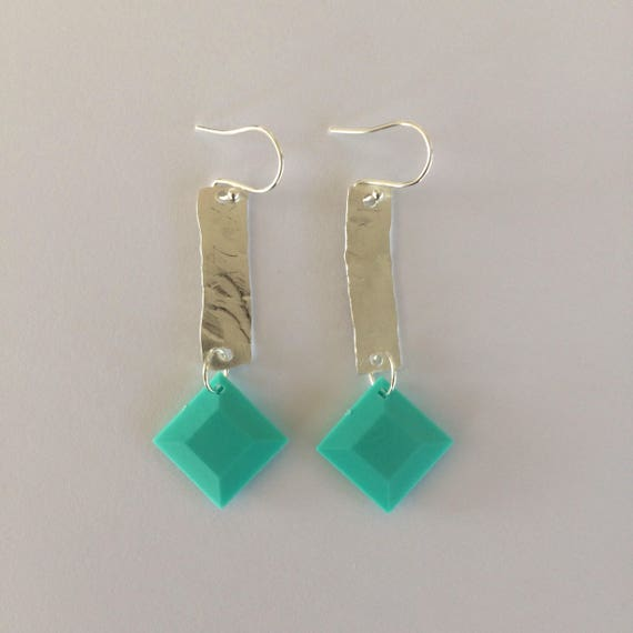 Vintage 80's Turquoise Bead Upcycled Sterling Silver Earrings - Boho - Recycled - Festival
