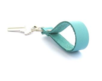 Aqua Leather Key Fob,  Blue Leather Key Fob, Aqua Key Ring, Aqua Keychain, Summer Key Fob, Caribbean Blue Key Fob