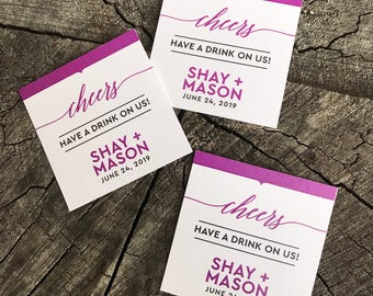 50 Wedding Drink Tickets - Redeem for a Drink Coupon - Party Bar Tickets - Square Modern - One Drink - Admit one Drink Token - Personalized