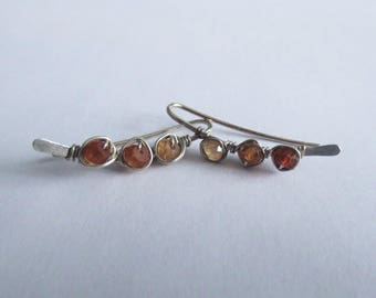 SAMANTHA...Gemstone Wrapped Sterling Silver Ear Climbers//Ear Pins//Ear Bars...Grade AA Hessonite