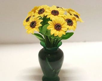 Bunch of 12 sunflowers in green vase - for 1:12 dollhouse
