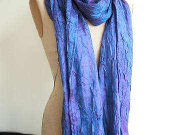NEW Peacock large Opera wrap- crushed taffeta shawl or sarf in shot teal blue green and purple- unlined summer coverup ready to ship