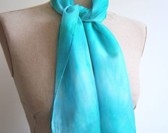 NEW Aqua Glow small Silk scarf - hand-dyed bright light blue green turquoise- unique wearable art OOAK ready to ship