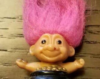 Vintage Rare Russ Troll Doll Lip Gloss or Bubble bottle topper Pot of Gold