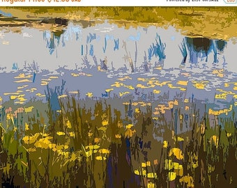 HUGE SUMMER SALE 40% off 8x10 archival Giclee print   Modern Art ....   Sun drenched lily pond