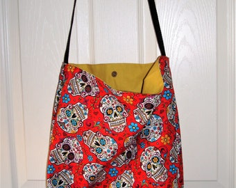 Red Sugar Skull Tote Bag with butter cup Lining,  with Magnetic Clasp  17X16X4 MADE IN AMERICA