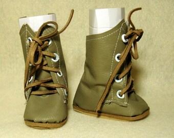 "Tan mid-calf boots for 18"" dolls"