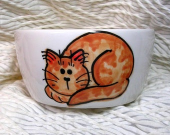 Ginger Rust Striped Tabby Mini Cat Bowl 6 Oz. Ceramic Cat Outside Paw Prints Inside by GMS